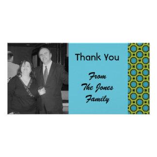 turquoise green circles photo greeting card