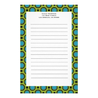 turquoise green circles customized stationery