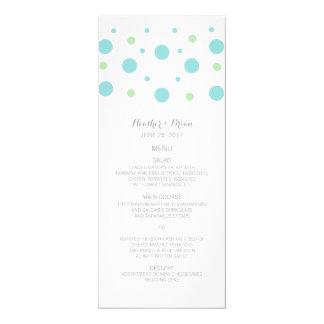 Turquoise Green Confetti Wedding Menu Card
