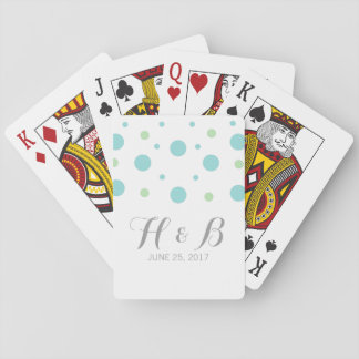 Turquoise Green Confetti Wedding Playing Cards