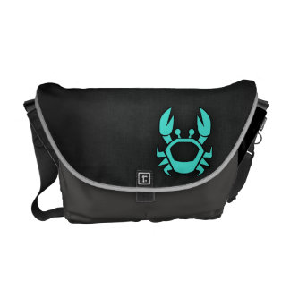 Turquoise Green Crab Courier Bag