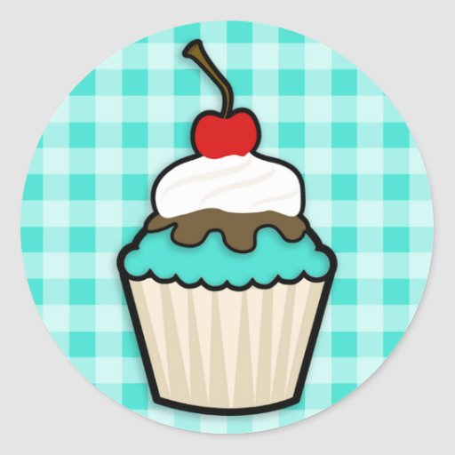 Turquoise Green Cupcake Stickers