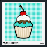 """Turquoise Green Cupcake Wall Decal<br><div class=""""desc"""">Cute,  cartoon cupcake with  Turquoise Green  icing.  You will love this adorable cupcake with whipped cream and cherry on top!  Great gift for anyone from girls that love cupcakes to a bakery owner! Images used on this item are licensed and &#169; Graphics Factory.com</div>"""