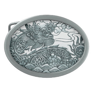 Turquoise Green Dragon Medallion Oval Belt Buckles