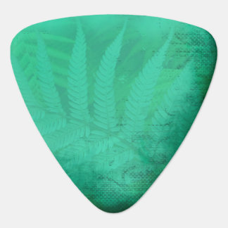 Turquoise Green Fern Distressed Teal Guitar Pick
