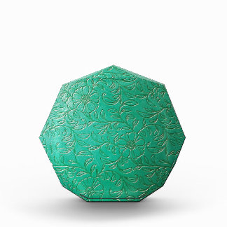 Turquoise Green Floral Etched Leather products Acrylic Award