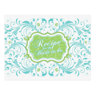 Turquoise Green Floral Recipe Card for the Bride