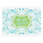 Turquoise Green Floral Recipe Card for the Bride Postcard