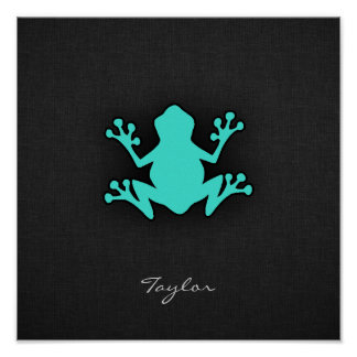 Turquoise Green Frog Poster