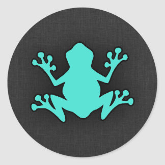 Turquoise Green Frog Round Stickers