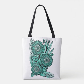 Turquoise Green Gerbera Daisy Flower Bouquet Tote Bag