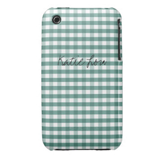 Turquoise Green Gingham Customizable iPhone 3 Case-Mate Cases