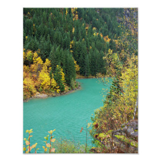 Turquoise-Green Glacial Lake in the Fall Poster