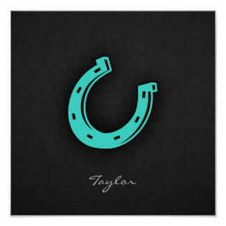 Turquoise Green Horseshoe Poster