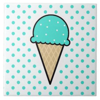 Turquoise Green Ice Cream Cone Ceramic Tile