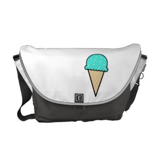 Turquoise Green Ice Cream Cone Messenger Bag