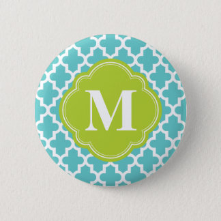 Turquoise & Green Modern Moroccan Custom Monogram Button