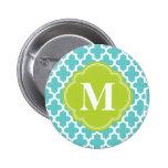 Turquoise & Green Modern Moroccan Custom Monogram Pin