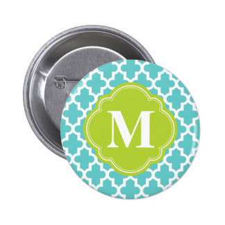 Turquoise & Green Modern Moroccan Custom Monogram 2 Inch Round Button