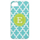 Turquoise & Green Modern Moroccan Custom Monogram iPhone SE/5/5s Case