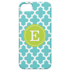 Turquoise & Green Modern Moroccan Custom Monogram Iphone Se/5/5s Case at Zazzle