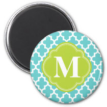 Turquoise & Green Modern Moroccan Custom Monogram Magnet
