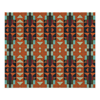 Turquoise Green Orange Red Ethnic Tribal Mosaic Poster