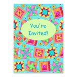 Turquoise Green Patchwork Quilt Block Art 5x7 Paper Invitation Card