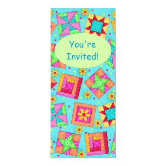Turquoise Green Patchwork Quilt Block Art 4x9.25 Paper Invitation Card