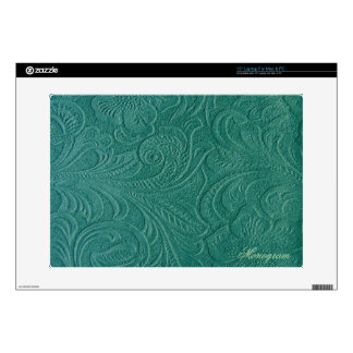 Turquoise-Green Suede Leather Look-Floral Pattern Skins For Laptops