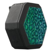Turquoise Green Textured Cheetah Black Bluetooth Speaker
