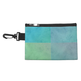 Turquoise Green Watercolor Geometric Pattern Art Accessory Bag