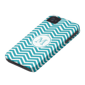 Turquoise Green White Chevron Pattern iPhone 4 Case-Mate Case