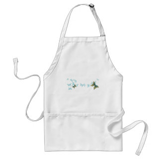 Turquoise, Grey and Orange Butterflies Adult Apron