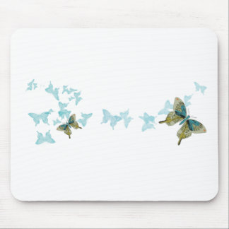 Turquoise, Grey and Orange Butterflies Mouse Pad