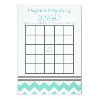Turquoise Grey Chevron Baby Shower Bingo Card