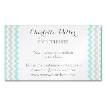 Professional Business Turquoise Grey Chevron Magnetic Business Card
