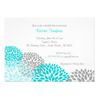 Turquoise Grey Dahlia Bridal Baby Shower Invite