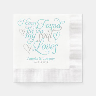 Turquoise Grey My Soul Loves Heart Wedding Paper Napkin