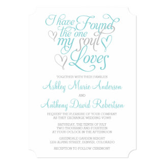 Turquoise Grey Soul Loves Heart Wedding 5x7 Paper Invitation Card