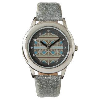 Turquoise Grey Southwestern design Wristwatch