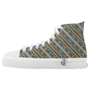 Aztec Themed Turquoise Grey Southwestern Pattern Design High-Top Sneakers