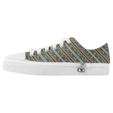 Aztec Themed Turquoise Grey Southwestern Pattern Design Low-Top Sneakers