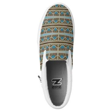 Aztec Themed Turquoise Grey Southwestern Pattern Design Slip-On Sneakers