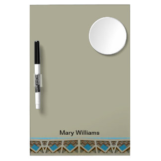 turquoise grey southwestern pattern dry erase board with mirror