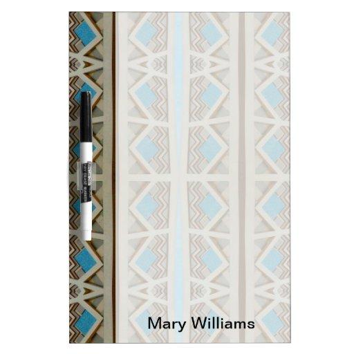 turquoise grey southwestern pattern Dry-Erase whiteboard