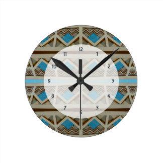 turquoise grey southwestern pattern round clock