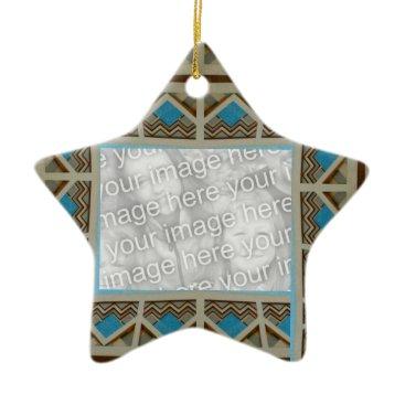 Aztec Themed Turquoise Grey Southwestern Photoframe Ceramic Ornament