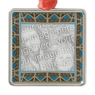 Aztec Themed Turquoise Grey Southwestern Photoframe Metal Ornament