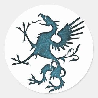 Turquoise Griffon (Eagle Lion) Classic Round Sticker